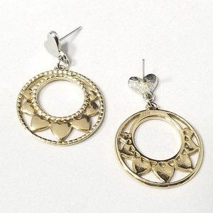 GOLD TONE ROUND HEART EARRING